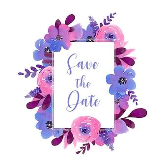 紫色の手描きの花で日付の長方形のフレームを保存