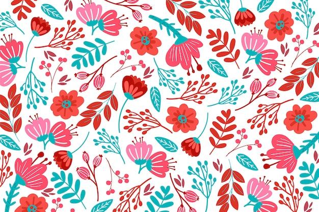 赤の色調で手描き花柄