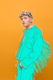 青い服を着た金髪のファッションモデル