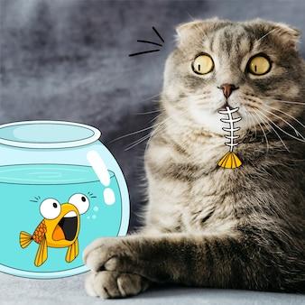 Кошка ест каракули рыб