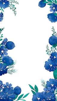 水彩画の青い花を持つ携帯電話の背景