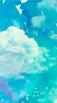 水彩画の空と携帯電話の壁紙