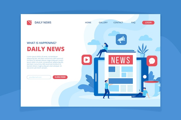 ニュースコンセプトのランディングページテンプレート