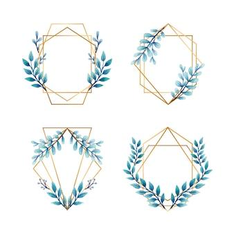 結婚式招待状の青い葉とゴールデンフレーム