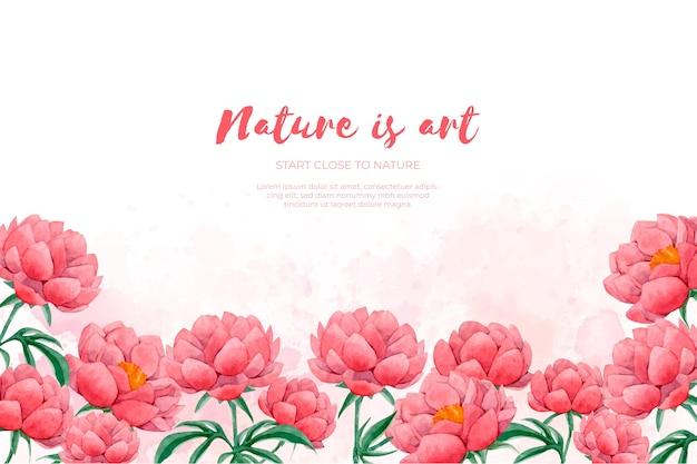 水彩の赤い花で作られた花のフレーム