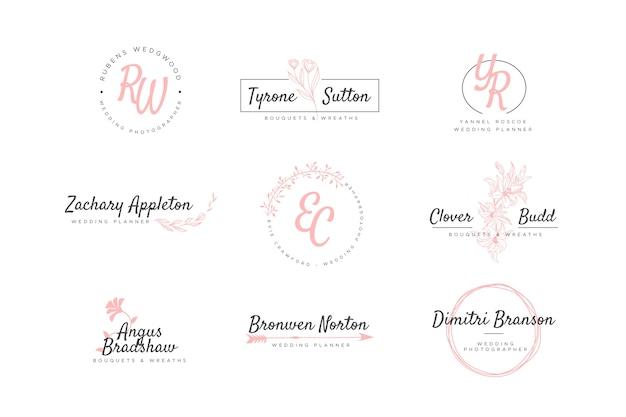 結婚式のモノグラムのロゴのセット