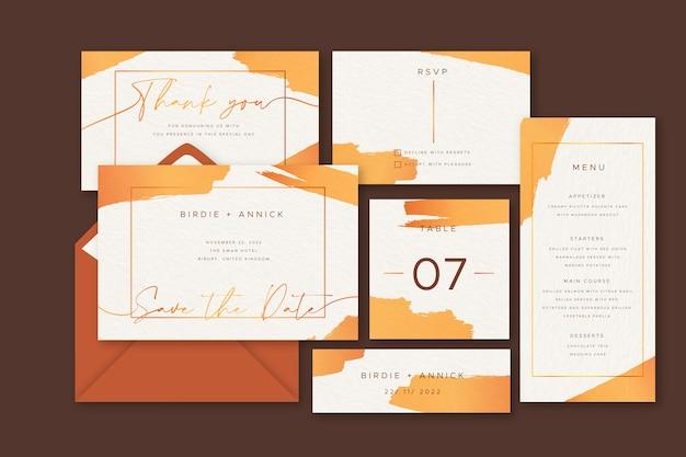 オレンジ色の結婚式の招待状テンプレートコレクション