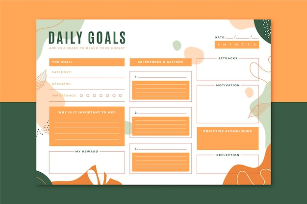 Шаблон ежедневных целей