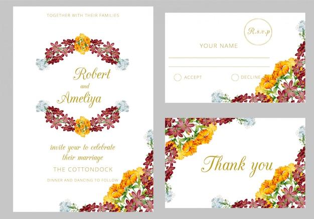 新しいモダンな結婚式の水彩画の招待状