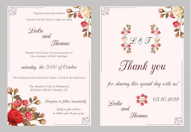 モダンな結婚式の招待状。バラの結婚式の招待状