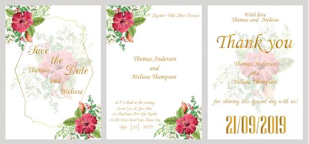 モダンな結婚式の水彩画の招待状