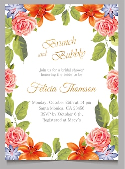 ブライダルシャワーの招待状カード、ブランチと花と陽気な招待状