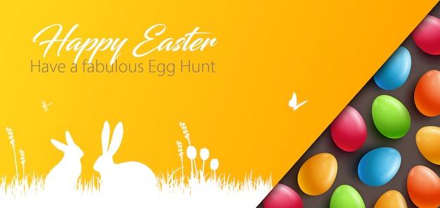 カラフルな卵とイースターの背景