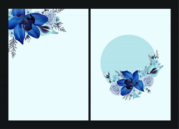 エキゾチックな花は、美しいスタイルでフレームを残します。ボーダーフレームテンプレート。