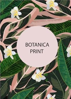 Фон джунглей. шаблон цветов. листья печатают. ботаника фон