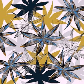 ヤシの葉。ジャングルの背景。抽象的な葉。手描きの葉