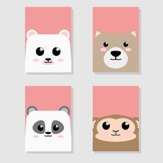 漫画かわいい赤ちゃん動物アイコンセットカード