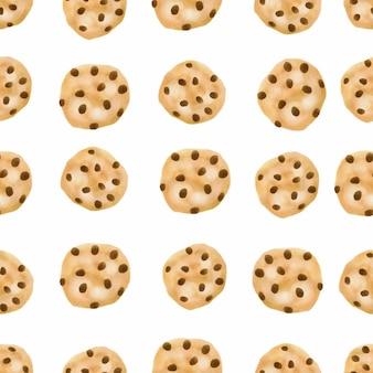 水彩かわいいクッキーシームレスパターンのチョコレートチップビスケット