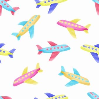 水彩のかわいい飛行機子供のシームレスパターン