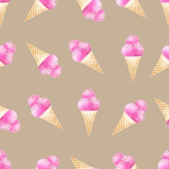 水彩のかわいいアイスクリームコーンのシームレスパターン