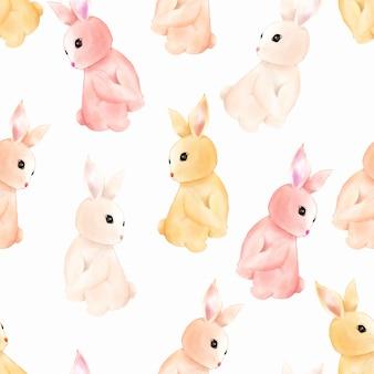水彩かわいい赤ちゃんバニーうさぎシームレスパターン壁紙