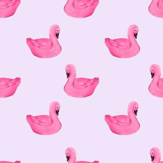 水彩かわいい白鳥のシームレスなパターン夏ピンク