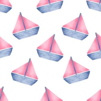 美しいウォーターカラーのベビーヨットの継ぎ目のパターン