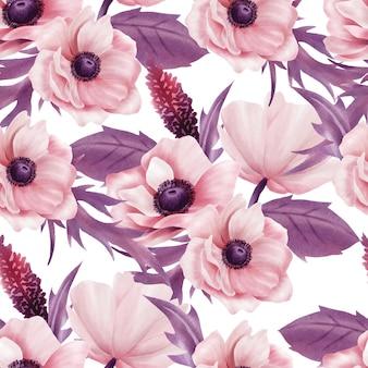 美しい水彩花柄バラのシームレスパターン