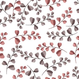 美しい花葉パターン水彩画の赤い葉