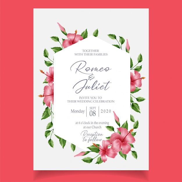花のフレーム水彩招待カードテンプレート