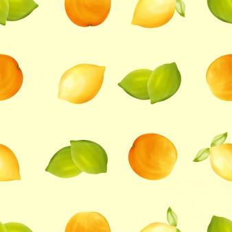美しい水彩レモンイエローフルーツのシームレスパターン