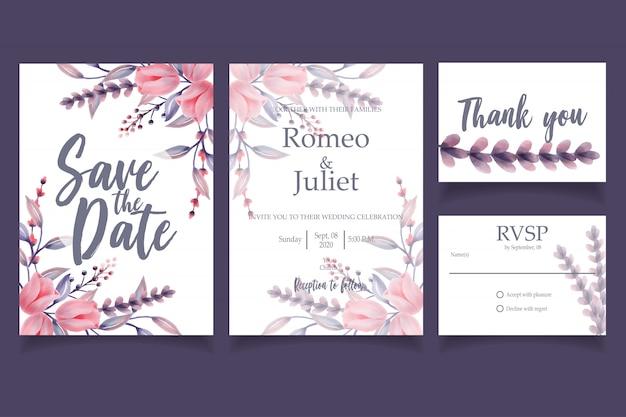 美しい水彩花結婚式招待状カードテンプレート花