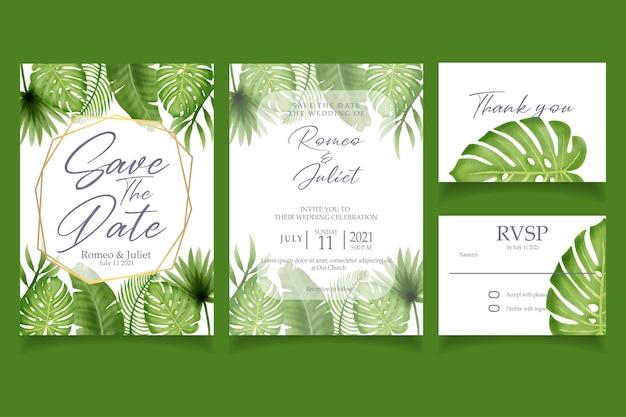 美しい熱帯夏水彩画の招待状の結婚式のパーティー