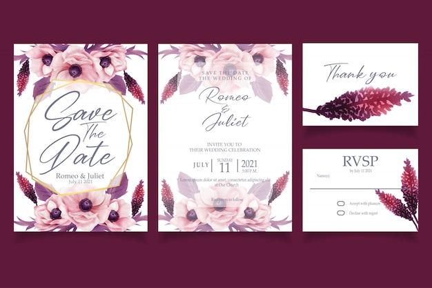 美しいピンクの花の水彩画の招待状の結婚式のパーティー