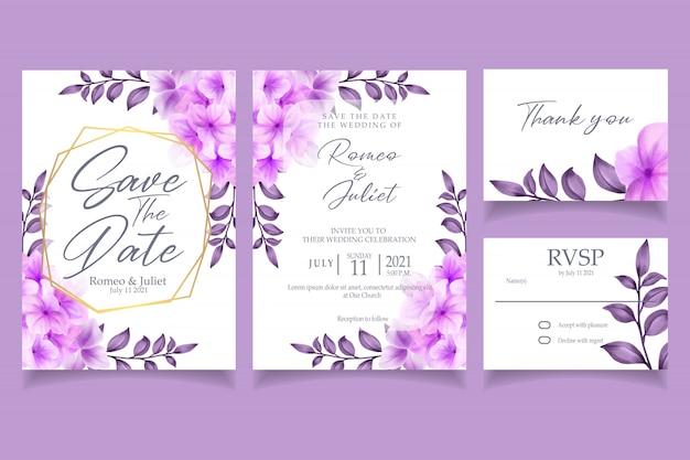 美しい紫色の花の花の水彩画の招待状の結婚式のパーティー
