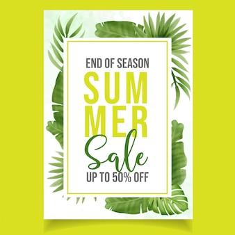 Красивая акварель зеленая летняя распродажа баннер