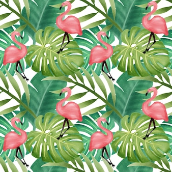 Красивая акварель тропических листьев бесшовные модели фламинго