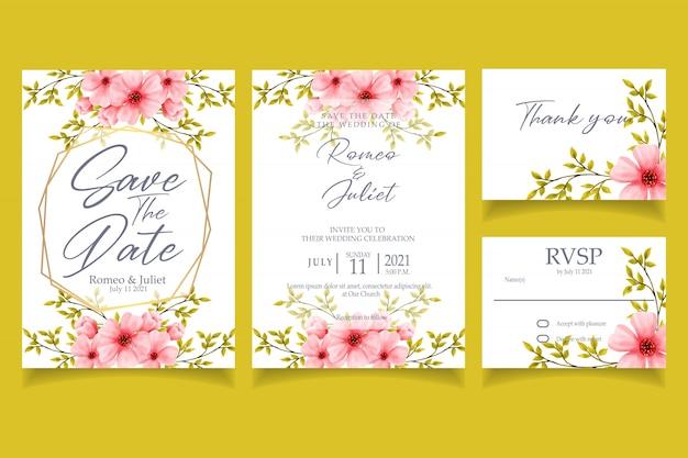 花の水彩画の招待状結婚式パーティーカードテンプレート
