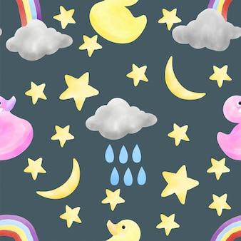 かわいい赤ちゃん水彩シームレスパターン