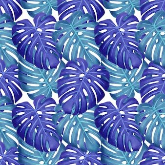 夏の花の水彩画の葉のシームレスパターン