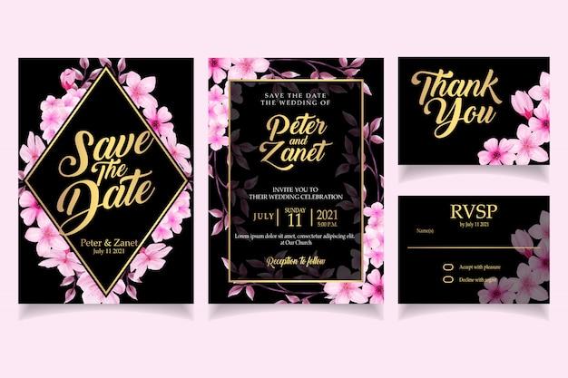 エレガントな花の水彩画の招待状カードテンプレートさくら