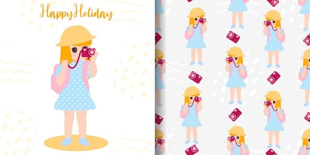 かわいい写真家の女の子の休暇のシームレスパターン