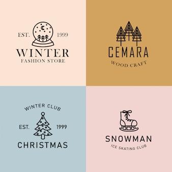 編集可能な冬のミニマリストの既製のロゴセット