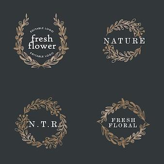 シンプルでエレガントなホタルの既製のロゴ編集可能なテンプレート