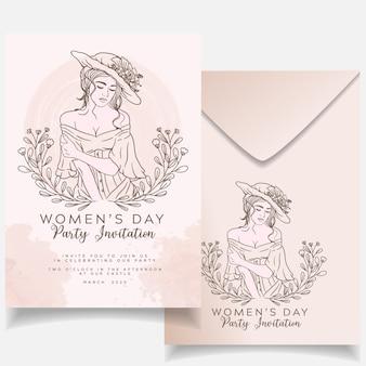 カードエレガントな水彩画背景を持つ現代の花の女性の日チラシ招待