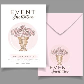 カードエレガントな水彩画背景を持つ現代の花の結婚式のチラシの招待状