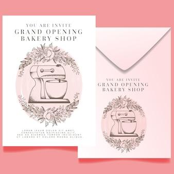水彩ベーカリーショップグランドオープン招待状編集可能なテンプレート