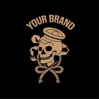 Череп моряк старинные татуировки логотип иллюстрация олдскульная тема