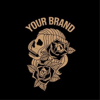 Череп красота винтаж татуировка логотип иллюстрация олдскульная тема