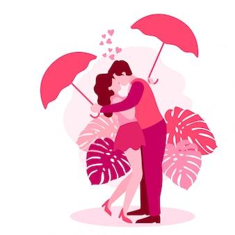 かわいいロマンティックカップルバレンティン